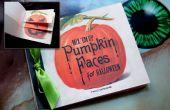 Plantilla de halloween calabaza cara libro