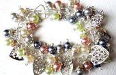 Pulsera racimo de perlas / pulsera OOAK - azul, rosa, verde, crema y plata