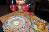 V para San Valentín (guiso cremoso de pollo, crema de patata cremoso postre y bebida de aspecto cremoso)