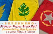 Superhéroe congelador estarcidos de papel lazo mochilas