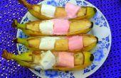 Bananabarbequeboats de manteca de cacahuete de marshmellow con honeydip