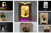 Quilled maceta miniatura con caja de madera - pantalla de noche