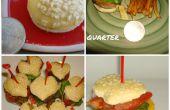Corazón en forma de Mini queso hamburguesas con papas a la francesa