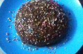 Microondas vainilla tarta de bizcocho con Chocolate Ganache helar