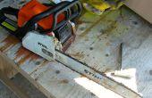 Motosierra barra aceite reparación con aspiradora de taller