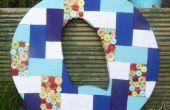 Una carta de mosaico gigante de patchwork y botón