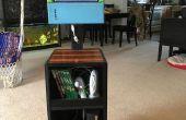 Juego estación de reciclado pantalla portátil y madera vieja
