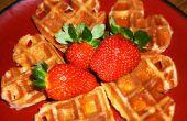 Waffles belgas con un aceite de coco/crema de queso twist (edición del día de San Valentín)
