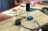 Zumbador y LED en protoboard