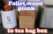 Tablón de la plataforma a la caja de la bolsita de té