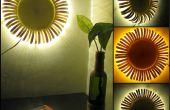 Lámpara de pared girasol hecho de palitos de