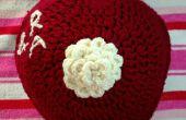 Personalizada corazón Crochet cojín