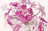 Flores de alambre y perlas