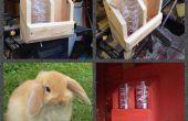 Bunny conejo hidratación estación hecha de madera