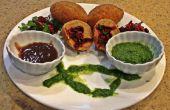 Chuletas de patatas relleno de vegetales con Chutney de tamarindo y Cilantro y limón