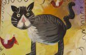 Manteles individuales ofreciendo su arte de linóleo de chatarra: