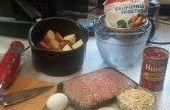 Preparación de la comida - pastel de carne y puré de papas