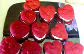 Rojo terciopelo en forma de corazón Whoopie Pies