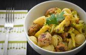 Marroquí Orecchiette con coliflor y albóndigas