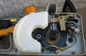 Fijar una motosierra eléctrica goteo aceite