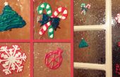Decoraciones de ventana de Navidad pintura puffy reutilizable
