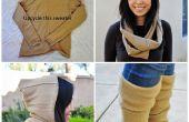 Upcycle una lana suéter en un círculo bufanda encapuchada y calentadores de la pierna