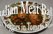 Abundante de albóndigas con verduras en salsa de tomate italiana hierba