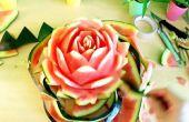 Flor de rosa de sandía (arte comestible)