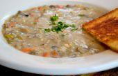 Crema vegana de setas y sopa de arroz salvaje