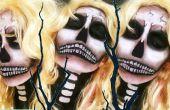 Tutorial de maquillaje de Halloween de cráneo Bombshell Rubio sexy