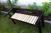 Reciclado estructura sofá a un banco del jardín