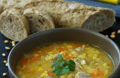 Dividir la sopa de guisantes con costillas de cerdo