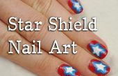 4 de julio Star Shield Nail Art