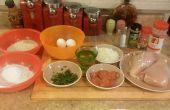 Pepperoni relleno pollo a la parmesana
