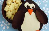 Cajas del pingüino chocolate relleno con copos de Chocolate blanco