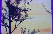 Marcadores de pintura puesta del sol