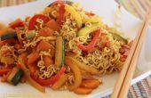 Tallarines con verduras al Curry salteado