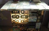 BRICOLAJE y lámpara (de viejas cintas de audio)