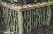 Jardín de levantado de madera natural