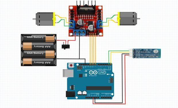 Arduino bluetooth controlado rc coche paso esquema de
