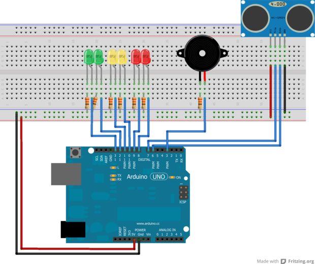 Detector De Distancia De Arduino Con Zumbador Y Led Paso