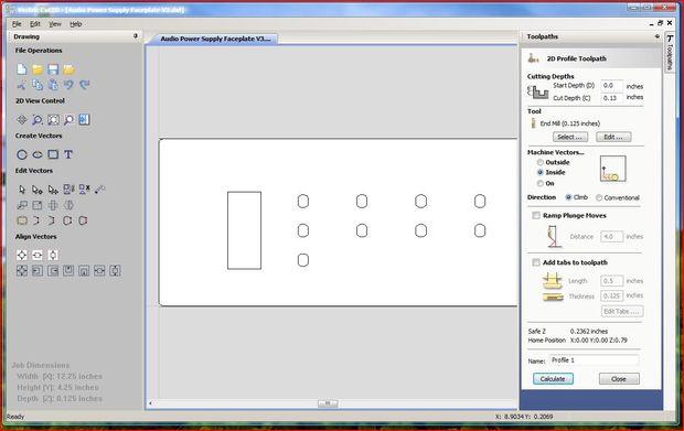 Generación de Gcode para ShopBot de archivo AutoCAD 2D Vectric Cut