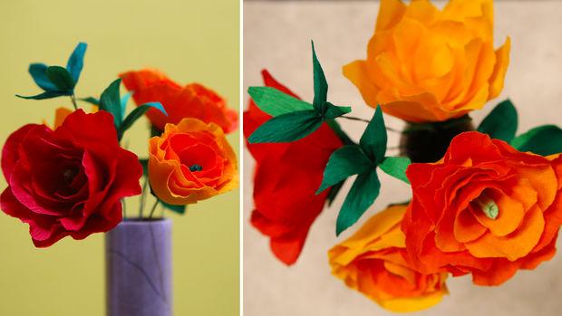 Manualidades Bricolaje Como Hacer Flores De Papel Crepe Rosa