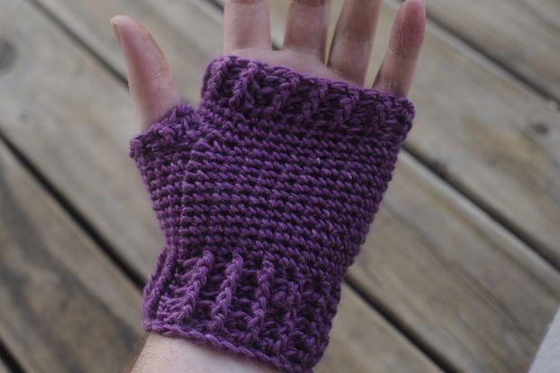 Cómo adulto sin dedos mitones de ganchillo / guantes - askix.com