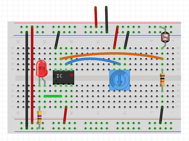 Detector de luz oscuridad usando un op amp paso 1 - Detector de luz ...