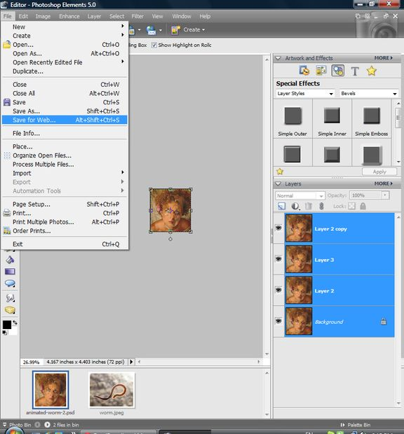 Bruto de gusano animado en Photoshop / Paso 4: Crear animación ...