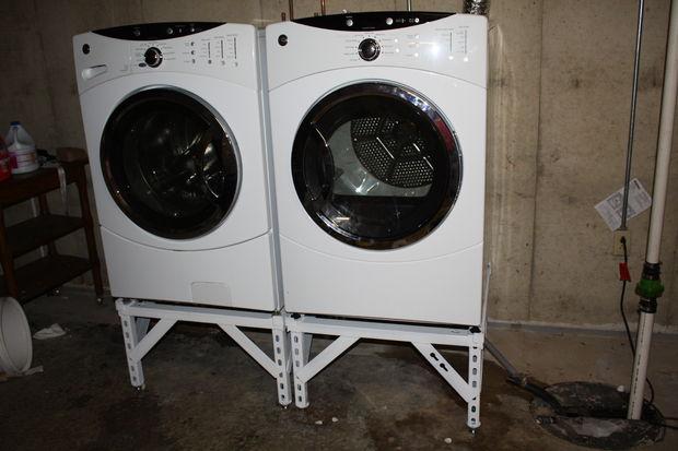 Soporte de lavadora secadora de acero con patas ajustables - Soporte secadora sobre lavadora ...