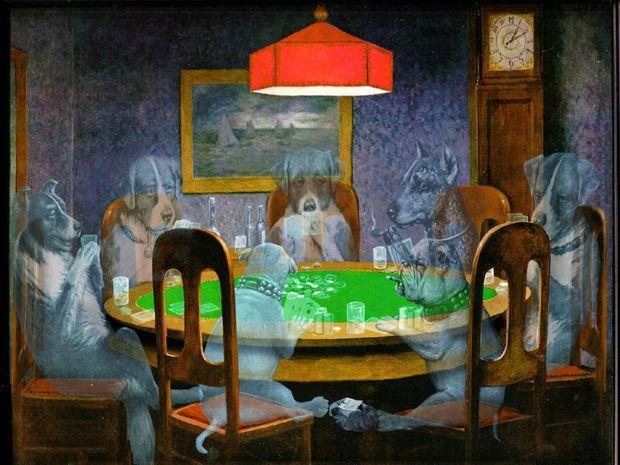 Fantasma De Perros Jugando Poker Cualquier Imagen En Una Escena De