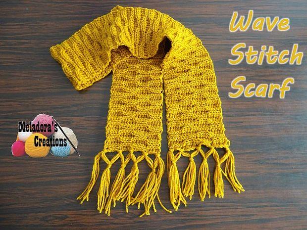 Ola puntada bufanda – patrón Crochet gratis - askix.com
