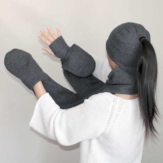 4-en-1 sombrero, bufanda, guantes sin dedos y manopla bolsillo Combo ...